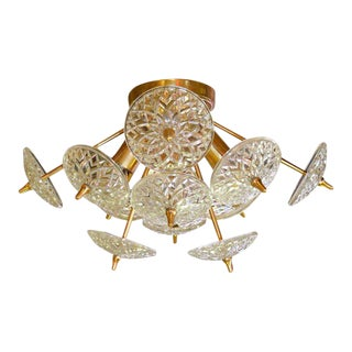 Val St. Lambert Crystal and Brass Sputnik Flush Mount For Sale