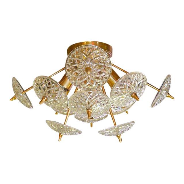 Val St. Lambert Crystal and Brass Sputnik Flush Mount For Sale