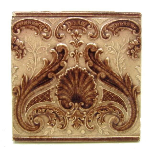 Victorian Minton Hollins Shell Fireplace Surround Tiles - Image 2 of 7