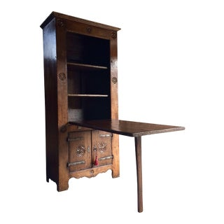 Primitive Farmhouse Cupboard Table 16th Century Dutch Solid Oak For Sale