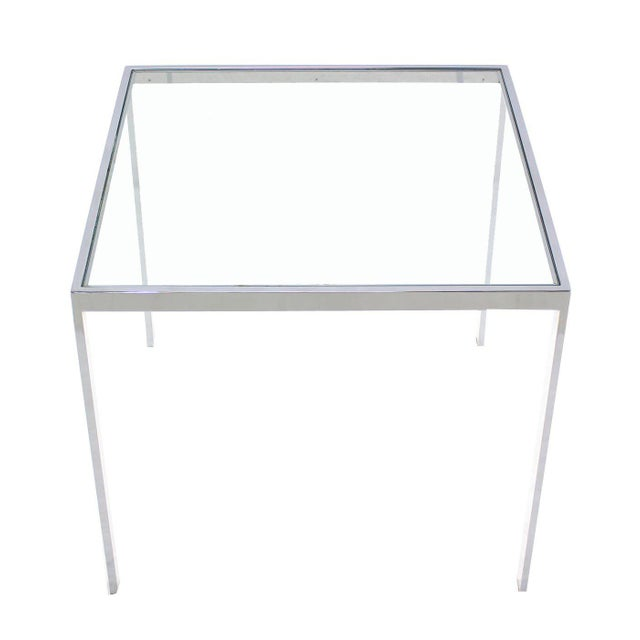 Contemporary Square Chrome & Glass Side Table For Sale - Image 3 of 8
