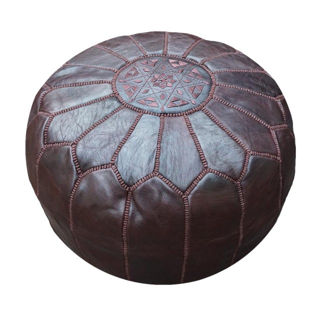Chocolate Brown Moroccan Leather Pouf - Image 1 of 4