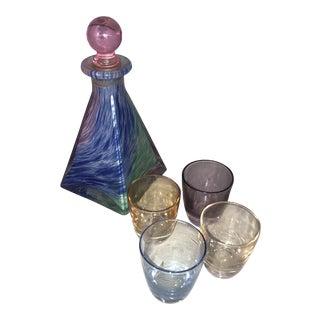 Vintage 1970s Petite Decanter Set With Shot Glasses - Set of 5 For Sale