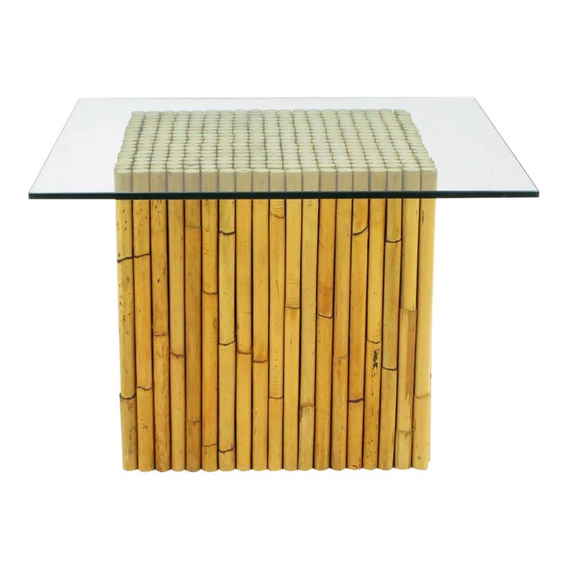 Reeded Bamboo Cube and Glass End Table For Sale