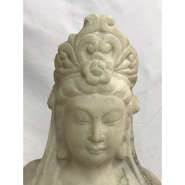 Mid 20th Century Guanyin / Guan Yin Bodhisattva Marble Goddess of Mercy Seated Buddha Statue For Sale - Image 5 of 12