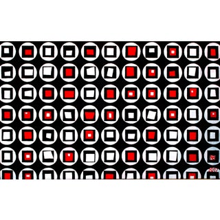 Red and Black Dynamic Circles Acrylic Painting by Natalia Bessonova Large Pattern Geometry Squares For Sale
