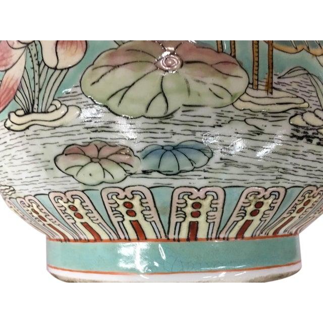 Vintage Deer Head Handle and Crane Design Vase For Sale - Image 4 of 7