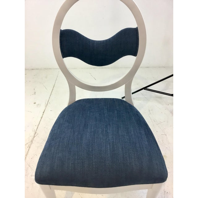 Caracole Caracole Modern Prototype Blue and White Wave Dining Chairs Set of Ten For Sale - Image 4 of 9