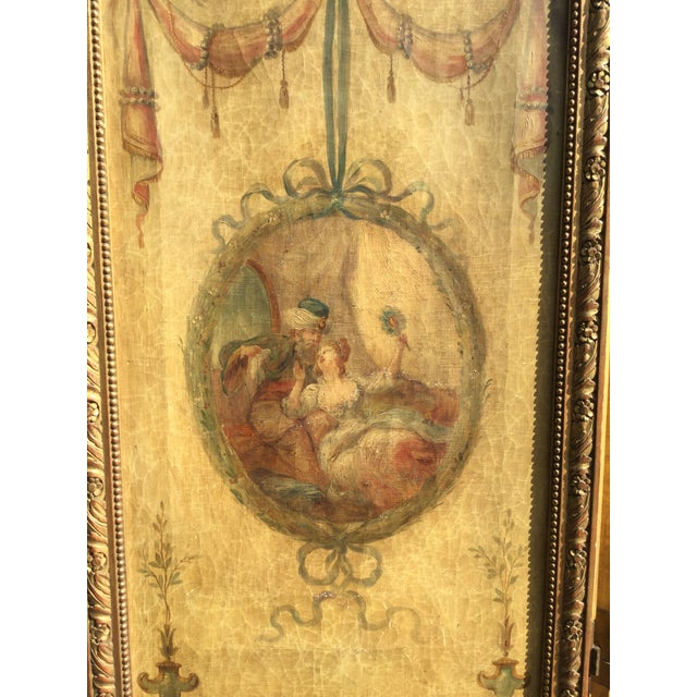 French 19th Century Vintage Oil Painting French 3-Panel Room Divider For Sale - Image 3 of 6