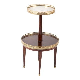 French Marble and Mahogany Two-Tier Side Table For Sale