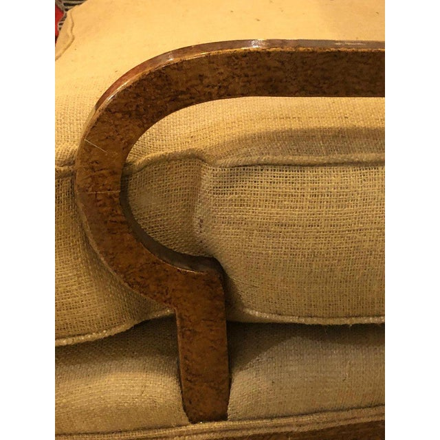 Brown Hollywood Regency Pair of Burlap Faux Marbleized Bergère or Armchairs For Sale - Image 8 of 13