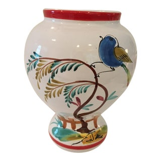 Hand Painted Italian Vase/Urn With Blue Bird and Red Banding