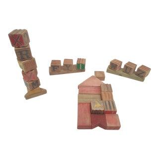 Vintage Wooden Letter Blocks - Set of 25 For Sale