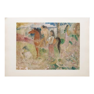 1959 Gauguin Tahitian Scene, Original Hungarian Photogravure Print For Sale