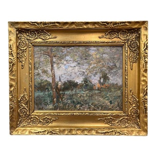 19th Century French Oil on Board Painting Signed H. D. Lemaitre For Sale