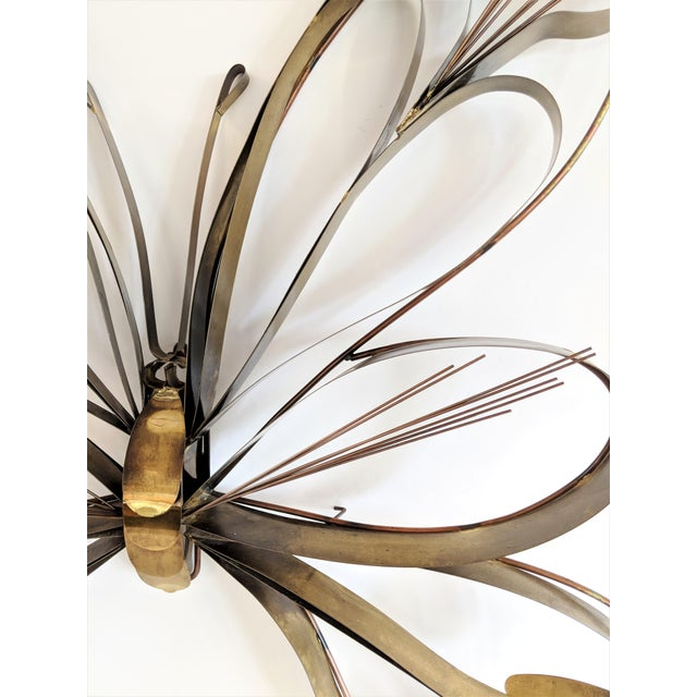 Curtis Here 1974 Mid-Century Modern Brass Butterfly Wall Sculpture For Sale In Miami - Image 6 of 13