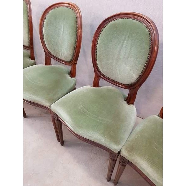 Textile French Vintage Louis XVI Style Green Velvet Medallion Back Dining Chairs - Set of 6 For Sale - Image 7 of 13