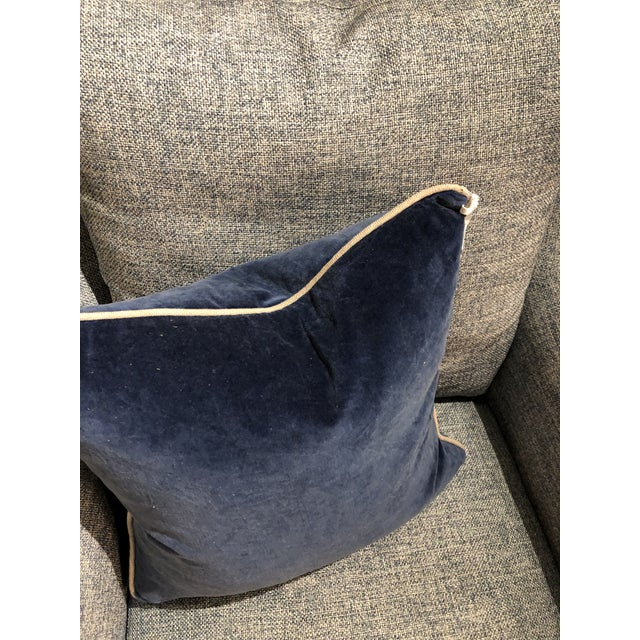 2010s Contemporary Classic Home Blue Velvet Pillow For Sale - Image 5 of 6