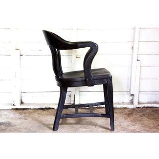 1950s Vintage Black Yakisugi Solid Wood Americana Banker's Club Chair Preview