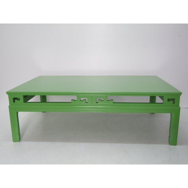 1970s Chinoiserie Large New Green Lacquer Coffee Table For Sale In West Palm - Image 6 of 6