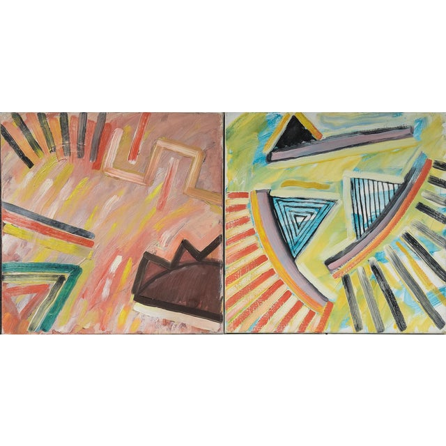 Abstract Morten Tøgern Compositions Oil Painting on Canvas, 1987 - Collection of 5 For Sale - Image 3 of 6