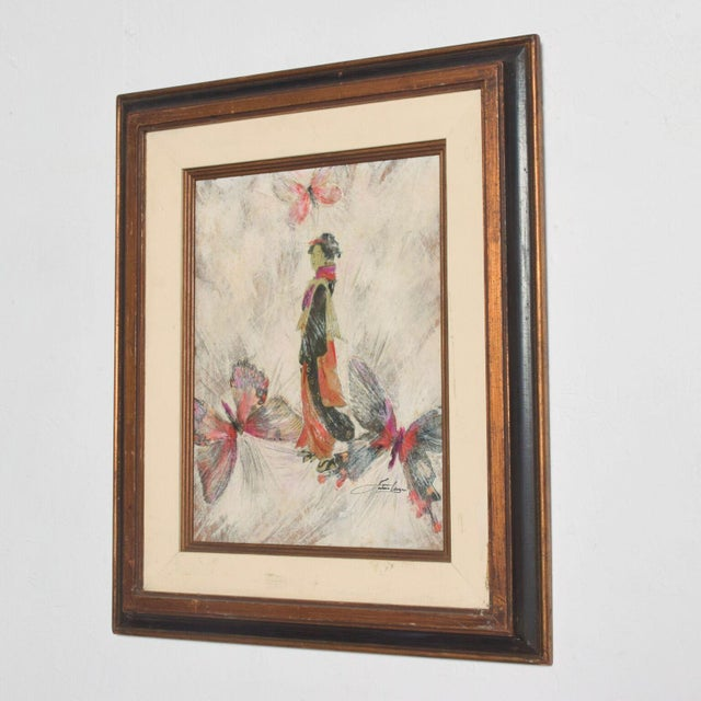 Mixed Media Art, Japanese Woman Pink Butterflies, Signed Painting For Sale - Image 4 of 11