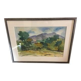 Vintage Watercolor Landscape Signed Painting For Sale