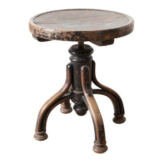 Antique French 1900s Wood Low Stool For Sale