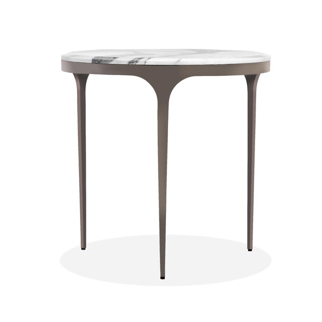 Making for a sophisticated piece, the Camilla Side Table features a stainless steel base in a gunmetal finish and an...