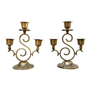 "Regency Brass ""S"" Candlesticks - a Pair For Sale"