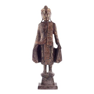 Antique Gold Thai Style Buddha Figurine For Sale