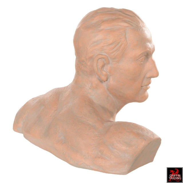 Figurative Terracotta Bust of a Man For Sale - Image 3 of 10
