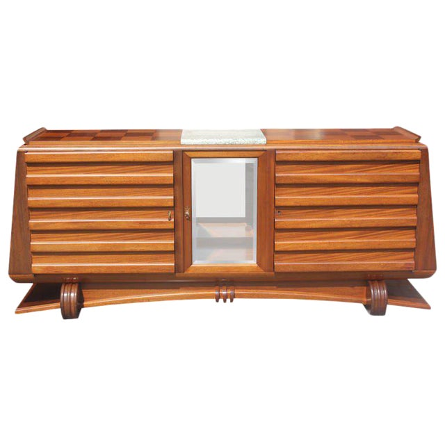 1940s Gaston Poisson French Art Deco Mahogany Sideboard / Buffet For Sale