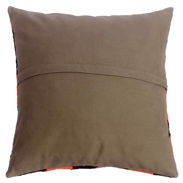 """2010s Devon Blue/Rust Hand-Woven Kilim Throw Pillow(18""""x18"""") For Sale - Image 5 of 6"""