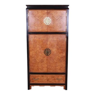 Chinoiserie Century Furniture Black Lacquer and Burl Wood Armoire Dresser For Sale