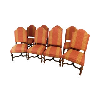 Southwood Jacobean Style Custom Upholstered Set 8 Dining Chairs For Sale