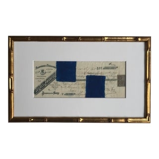 Abstract Pastel on Vintage Paper, French Bank Note #1 Drawing, Framed For Sale
