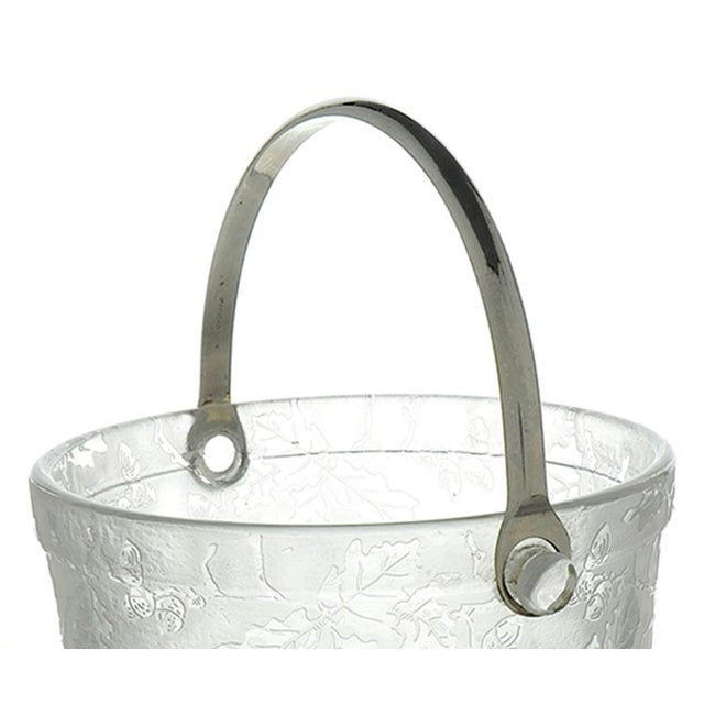 Mid-Century Modern Fostoria Oak Leaf Clear Ice Bucket With Detachable Handle and Tongs For Sale - Image 3 of 5