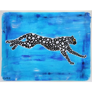 Chinoiserie Cheetah Leopard Painting by Cleo Plowden For Sale