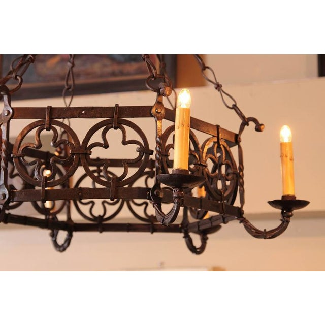 Metal 19th Century French Gothic Hexagonal Black Wrought Iron Six-Light Chandelier For Sale - Image 7 of 10
