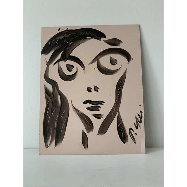Paint Vintage Mid-Century Signed Peter Keil Acrylic Abstract Portrait Painting For Sale - Image 7 of 8