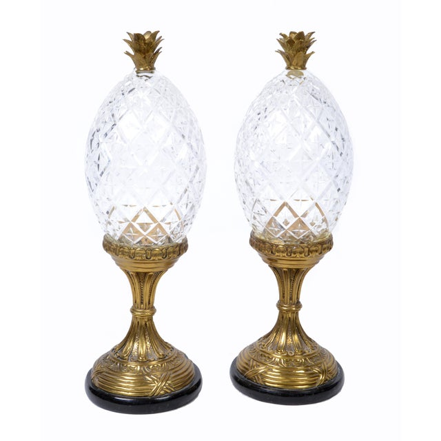 Gold Maitland-Smith Bronze and Crystal Pineapple Ornaments, Germany, a Pair For Sale - Image 8 of 9