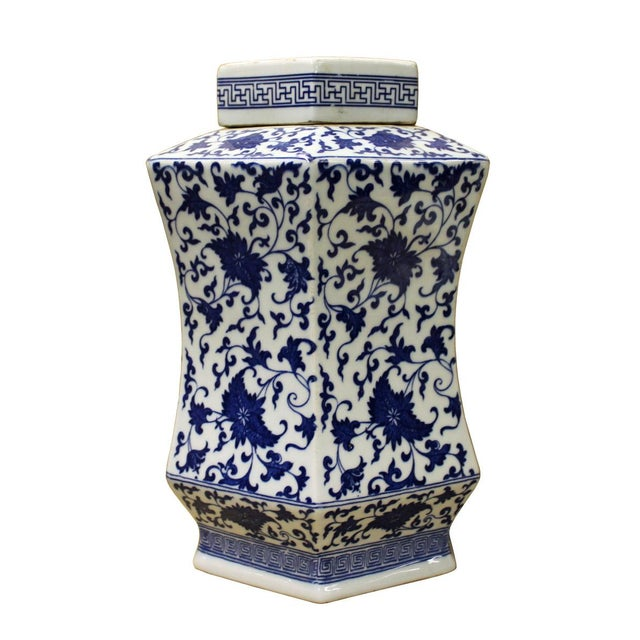 Chinese Blue & White Hexagon Porcelain Jar - Image 3 of 6