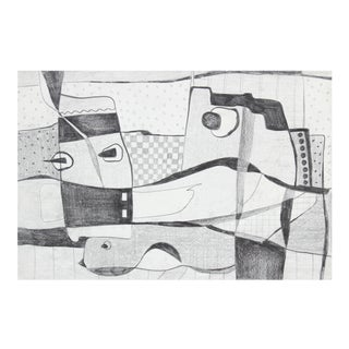 Monochromatic Surrealist Abstract in Graphite, Circa 1970s For Sale