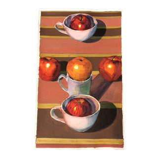 Vintage Original Gouache Still Life With Apples Painting For Sale