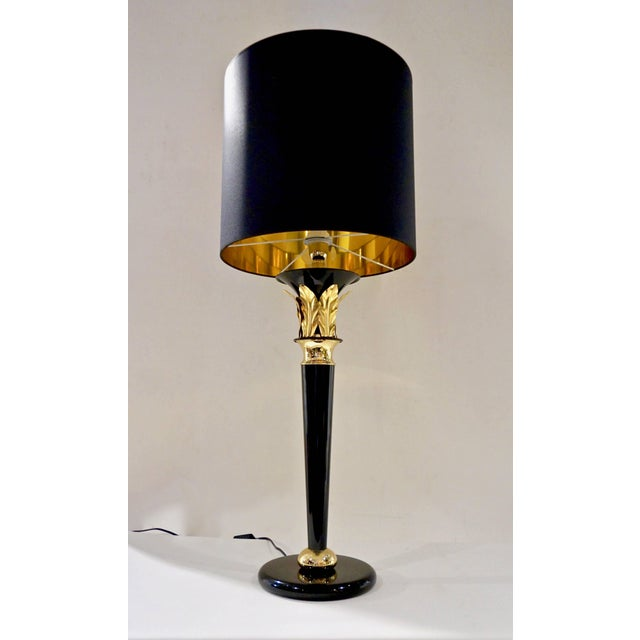 Brass 1970 Italian Hollywood Regency Black Lacquered and Gold Leaf-Motif Lamps - a Pair For Sale - Image 7 of 9