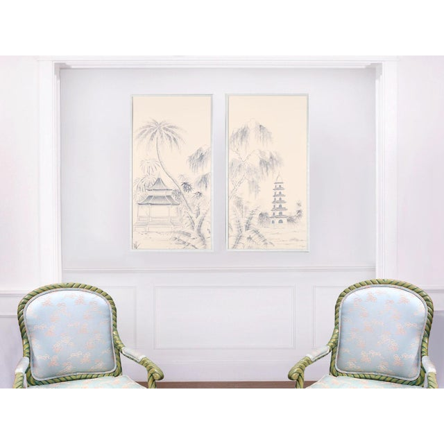 """Not Yet Made - Made To Order Jardins en Fleur """"Blue Pagoda Garden"""" Chinoiserie Hand-Painted Panel on Blush Silk Diptych by Simon Paul Scott in Burnished Gold Frame - a Pair For Sale - Image 5 of 7"""