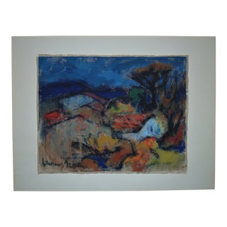Vintage Mid-Century Elemer Polony Signed Watercolor Abstract Painting For Sale