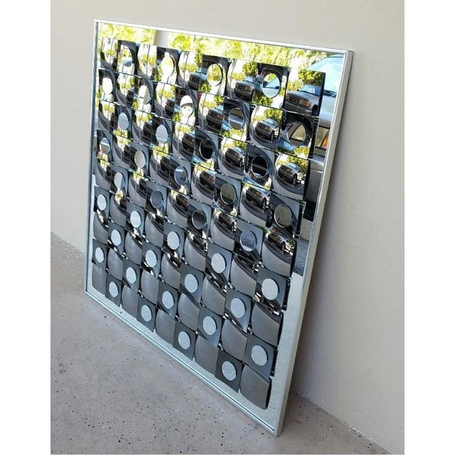 Hal Bienenfeld Op Art Circle Within Squares Mirror For Sale In Miami - Image 6 of 7