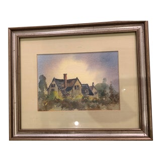 A. F. White Original English Cottage Watercolor Painting, Framed For Sale